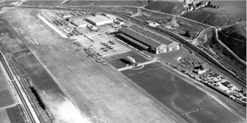 Old Hughes air strip and buildings in Playa Vista.