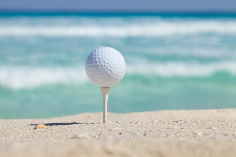 We all took a family vacation where we golfed on the beach.