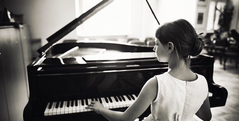 A young student of mine performing at a piano recital.