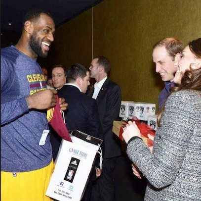 LeBron with William and Kate