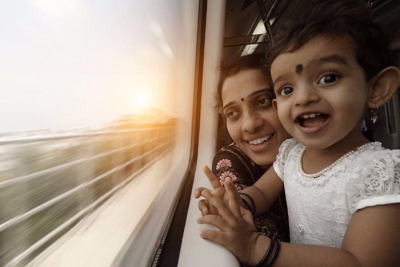 Mother and daughter on railway trip