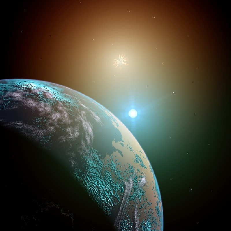 Binary star system and Earth