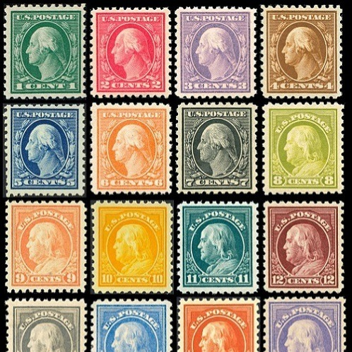 Old, colorful US Stamps.