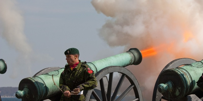 A cannon being fired.