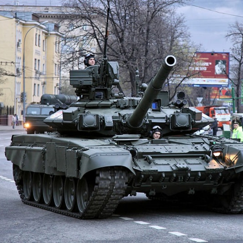 A T-90 during a parade.