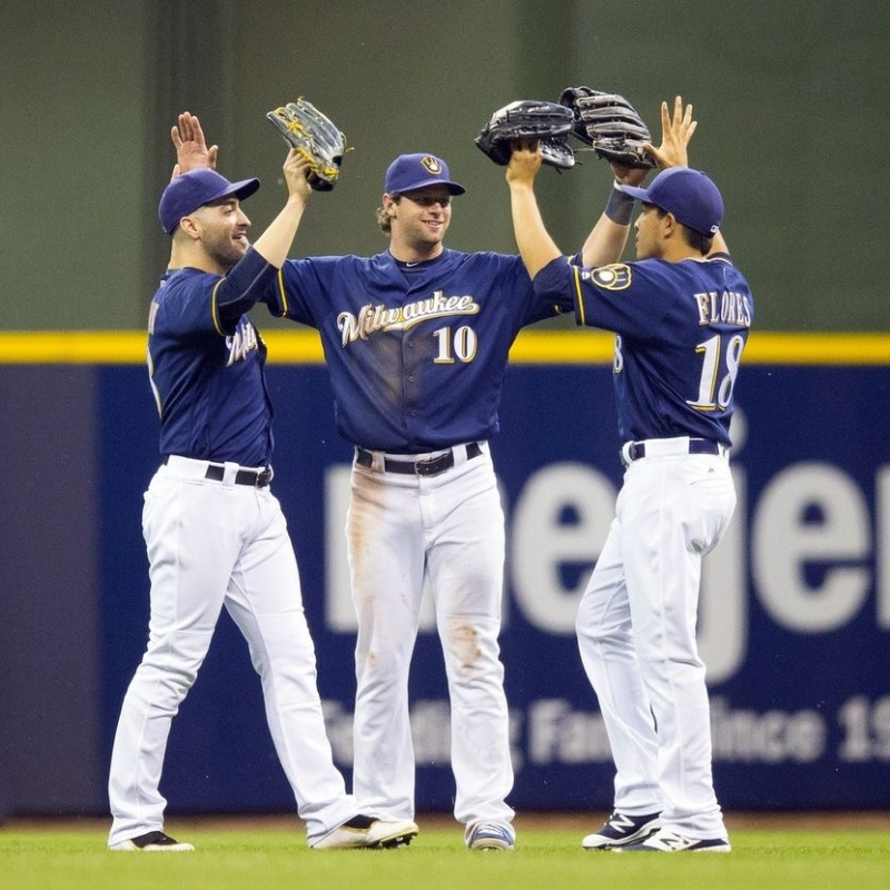 Brewers high-fiving!
