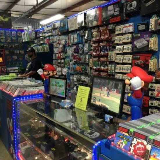 A vendor stall of gaming supplies.
