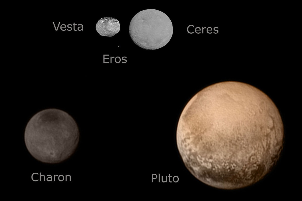 Ceres and Vesta compared to Pluto and Charon in size.