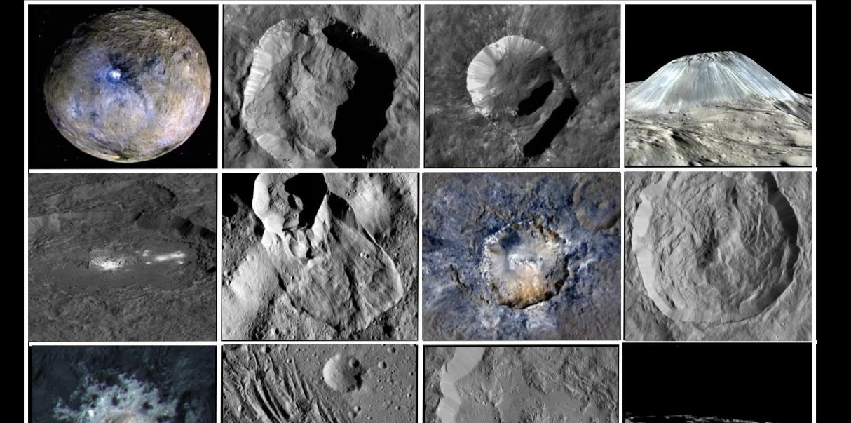 Ceres has an interesting surface. All pictures are from the Dawn probe.