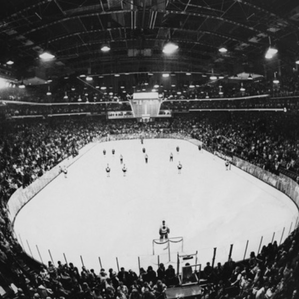 The Black Hawks hockey arena in 1960.