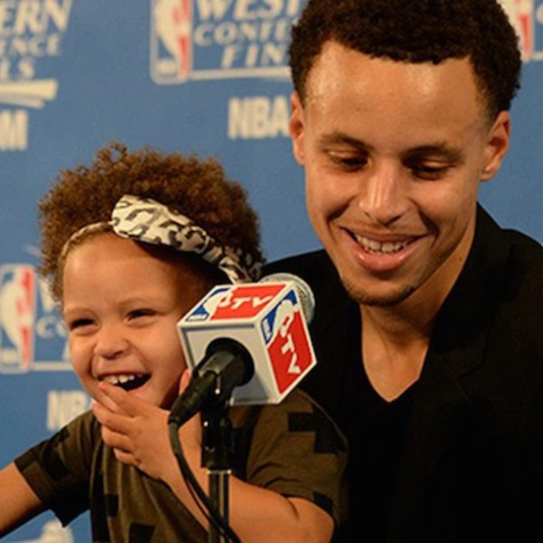 Curry with his daughter, Riley.
